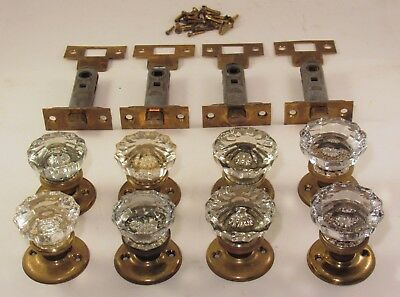 1 Refurbished SARGENT Lockset  Glass Door Knobs Brass Rosettes Latch + Screws