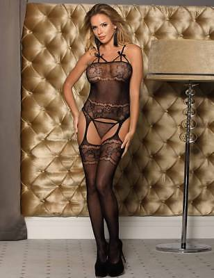 Body Stocking Black Jumpsuit Mesh of Lingerie Thin with Opening in Crotch