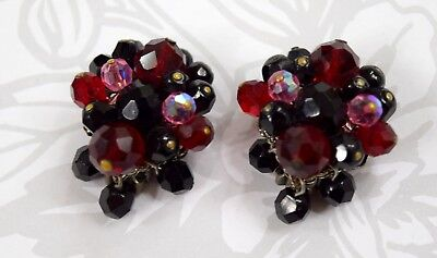 Antique Vintage Eugene Schultz Earrings Glass Crystals Rhinestones Clip On 30 s