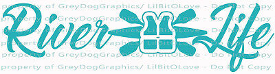 River Life Kayak, Paddles & Life Jacket Vest Vinyl Decal Saver Sticker Oars