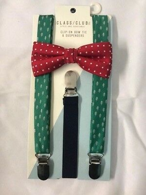 THE CLASS CLUB Clip-On Bow Tie & Suspenders, CHRISTMAS Theme Green & Red NWT $26