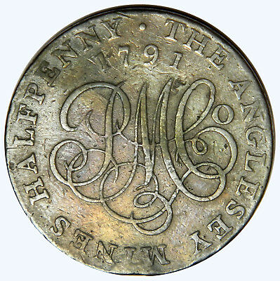 1791 Great Britain Half Penny Token ~ The Anglesey Mines ~ Priced Right!! Dh-391
