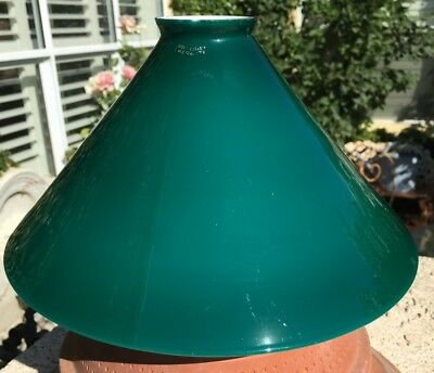 Vintage Emeralite Green And White Cased Hanging Shade