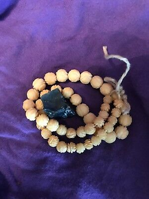 Pre-ban Natural Ivory Chrysanthemum  String Of 47 Beads,unknown Stone