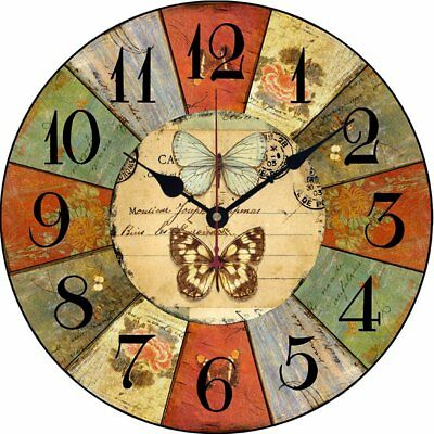 14 Inch Vintage Wooden Wall Clock Shabby Chic Rustic Kitchen Home Antique Style
