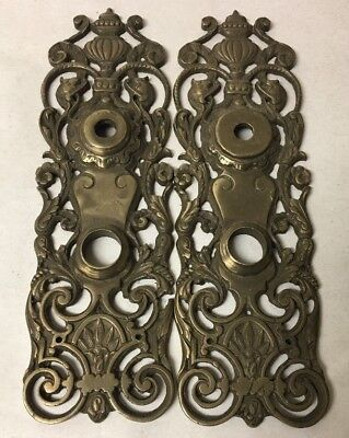 Lot of 2 Antique Ornate Brass Door Plates Backplates Figural Dolphins
