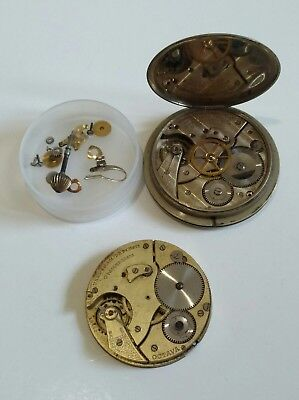 Vintage Octavia 8 Day Car/Dashboard Clock Lot of 2 Movements With Case & Parts