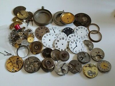 Large Lot of 8 Day Dashboard or Aircraft Clock Parts,10+ Movements Military?