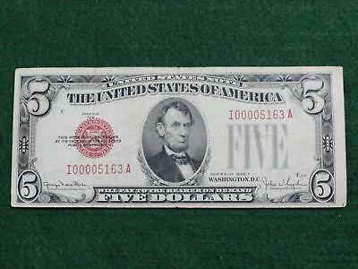 Series 1928F $5.00 **red Seal** United States Note -  Very Good Or Better