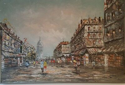 Large oil painting on board, city scenery -Paris, signed by B. Lomax