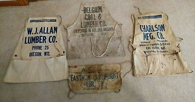 (4) Vtg Advertising Nail Aprons-4 Wisconsin Lumber yards-1 NOS, 2 grungy, 1 used