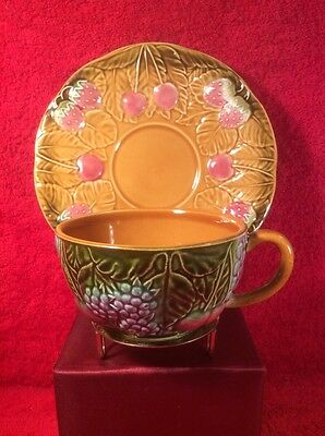 Cup & Saucer Set Antique Vintage Majolica French, fm1085  GIFT QUALITY!