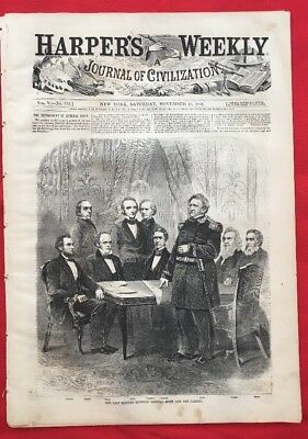 ABRAHAM LINCOLN SHERMAN Harper's Weekly Nov 16 1861 Original Great Civil War