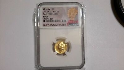 2016 W, (with mint mark)10C 24k Gold 1/10 oz Early release NGC SP 70. PRISTINE!!