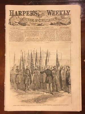 GEN CUSTER CAPTURED BATTLE-FLAGS 1864 Harper's Weekly GEN SHERIDAN SHENANDOAH