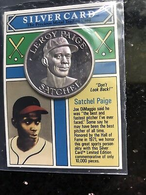 1993 Satchel Paige Silver Card, 1oz .999 Pure Silver Coin Unc.On Card 10,000 mad