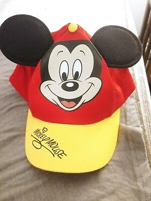 New Disney Parks Mickey Mouse Baseball With Ears Red & Yellow Hat Cap Size Youth