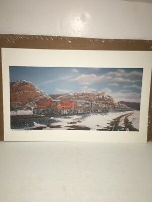 Robert West Railroad Art Print Of Santa Fe Warbonnet Locomotives
