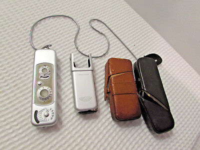 VINTAGE MINOX B SPY CAMERA WITH FLASH & LEATHER CASES Complan Lens 1:3.5 f=15MM