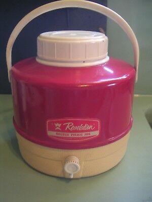 Vintage Revelation Deluxe Picnic Jug Western Auto Stores Red With Cream Bottom