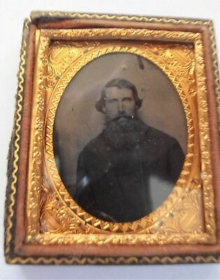 Ninth plate tintype of a young Texas Confederate Officer in bib front uniform
