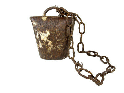 VERY RARE HUGE MEDIEVAL PERIOD IRON BELL with THE CHAIN+++INTACT+++
