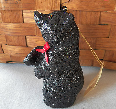 NWT Ino Schaller Bayern Germany Black Glitter Bear Christmas Ornament