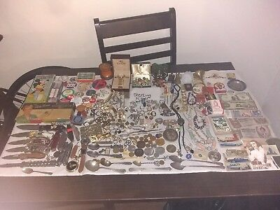 Monster Junk Drawer Lot Sterling Silver Turquoise, Knives, Coins, Estate Lot