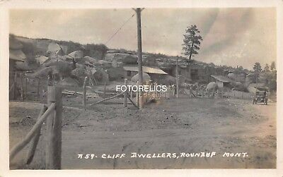 Roundup Musselshell County Montana Early Real Photo Card of Cliff Dwellers