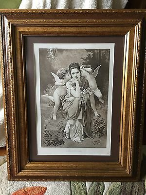 """Pair of 12"""" by 16"""" Antique Framed Prints From 1889 Art Exhibition Book"""