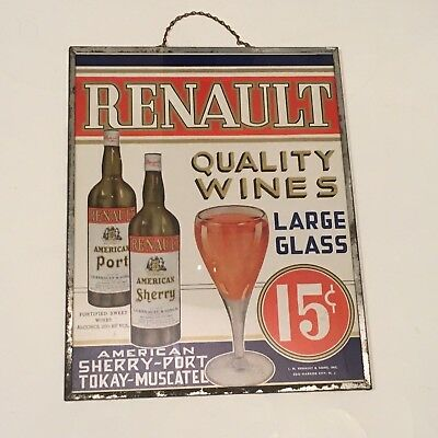 Nice Early Antique Tin Frame Tavern Sign Wine Liquor  Renault Winery New Jersey