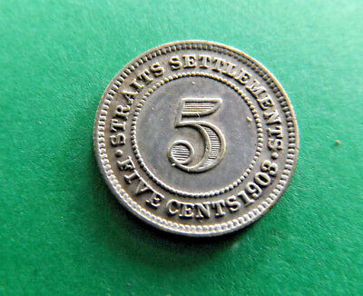 Straits Settlements 1903 5 Cents Silver Coin