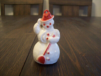 Vintage Hard Plastic Snowman Candy Container Ornament