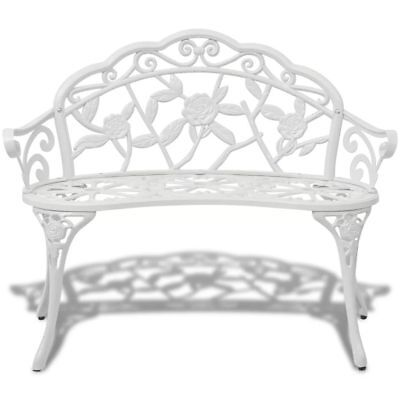 vidaXL Vintage Classic 2-Person Aluminum Garden Bench Outdoor Seater White Cast
