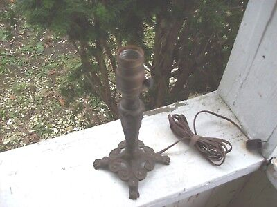 Antique Art Nouveau Deco Cast Iron Lamp Iris Flower Water Lily Pads, Claw Feet