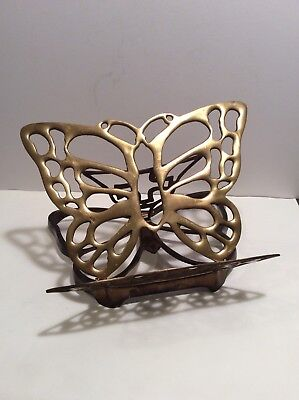 Vintage Brass Butterfly Book Bible Cookbook Music Stand Easle-adjustable, folds