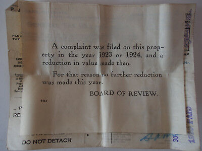 Antique 1923 Board of Review Note on Complaint on Property Tax Reduction Receipt