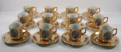 Rare Hotta Yu Shoten Vintage Tea Set Gold Cup and Plate Set of 12 Hand Painted