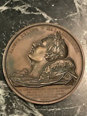 """Rare Antique Napoleon Death Bronze Medal High Relief 2.5"""" Montagny French 1800s"""