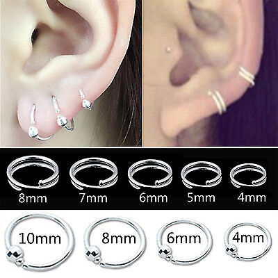 Best Silver Plated Double Circle Endless Hoop Rings Lip Nose Ear Studs Earrings