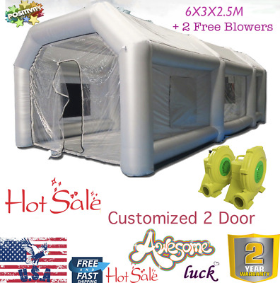 Customized 19FT Inflatable Car Workstation Spray Paint Booth Tent 2 Doors w/ Fan