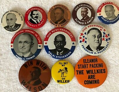 Lot 11 Political Presidential Campaign Pinbacks Reproductions FDR Truman Willkie
