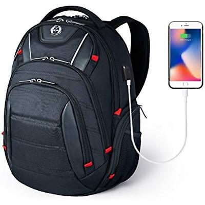 Laptop Backpack,Swissdigital Busniess Travel Polyester With USB Charging Port