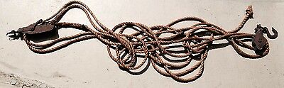 Vintage Antique Two Double Pulley Block & Tackle Rope Farm Barn Sailboat Sailing