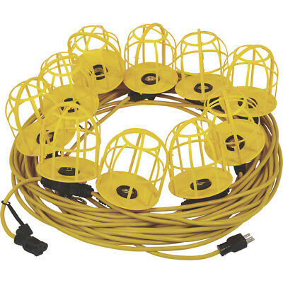 100 Foot Outdoor Yellow Commercial Contractor-Grade Plastic Cage String Lights