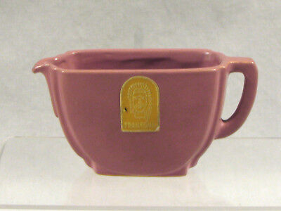 Frankoma #42 Cream Pitcher - Sticker - Ada Clay - Rose Glaze