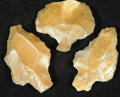 Lot of THREE Nice! 55,000 to 12,000 Year Old Aterian Artifacts Algeria 45.7gr
