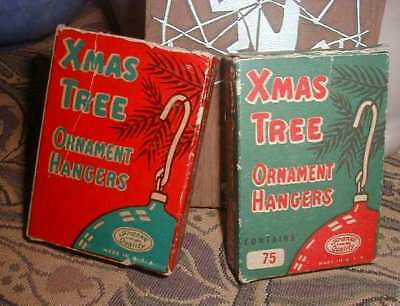 2 Vintage 1940s Boxes Christmas Ornament Hangers,1 Full 1 Empty Red Green Frank