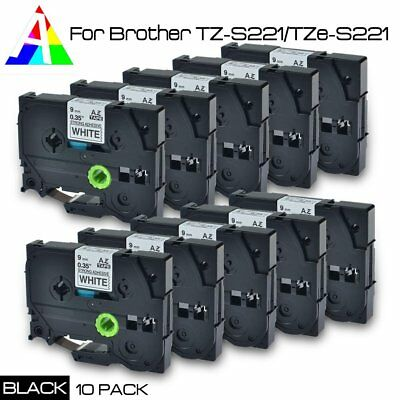 10 pack TZ-S221/TZe-S221 P-Touch Compatible for Brother Black on white Tape 9mm