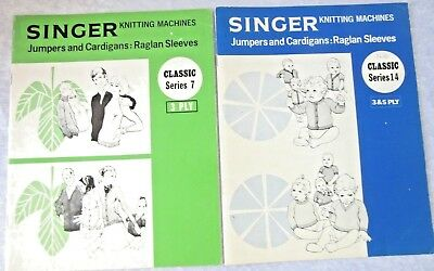 Knitting Machine PATTERN BOOKS SINGER  x 2 - Cardigans, Jumpers- Kids & Adults